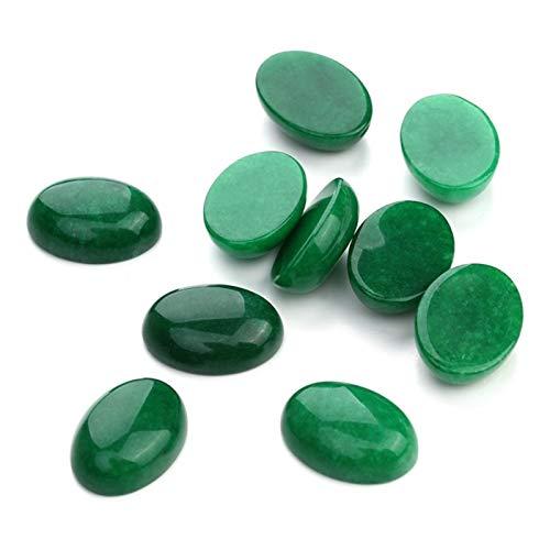 ABCBCA 10 unids/Lote 10 * 14/13 * 18/18 * 25mm Green Jade Cabochon Cabochon Piedra Natural Beads DIY Cabochon Configuración Hallazgo Hallazgo Joyería (Color : 10X14)