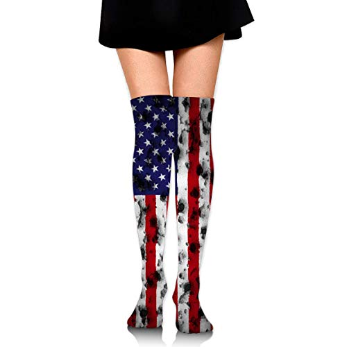 N/A Calcetines Altos hasta la Rodilla para Mujer, Mujer, Bandera de Estados Unidos con Agujero de Bala, Talla única