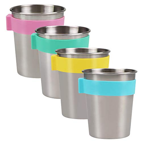 Sophico Magnetic Hanging Cups for Toddlers Kids and Adults, Hanging Cup on Fridge or Watercooler, for Independent Drinkers (Mix, Stainless Steel)