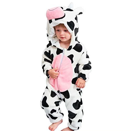 shulan Baby Cow Costumes Unisex Toddler Onesie Pajamas Halloween Dress Up Romper, 80(6-12months)