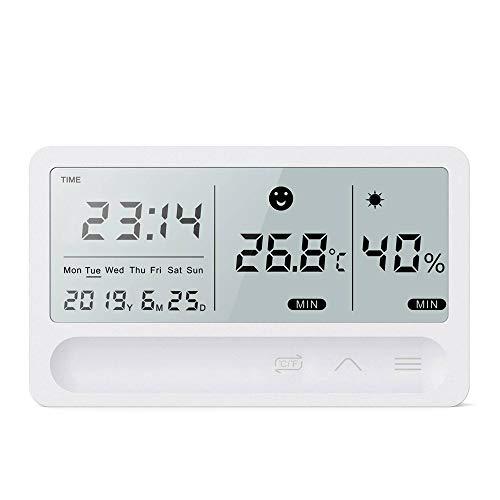 Sunsbell - Reloj termómetro digital, LCD digital, multifunción, pantalla grande, recargable por USB, indicador de temperatura y humedad, cómodo para el hogar, la oficina, el jardín