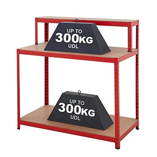 Heavy Duty Metal Workbench Workstation Unit For Garage Workshop | Ideal for Sheds Garages Workshops | 600kg Capacity