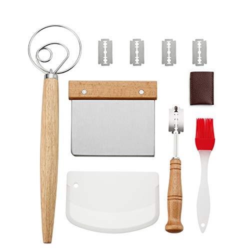 Juego de herramientas danesas para hornear: batidor de huevos, harina, 2 espátulas y 5 cuchillas de repuesto, acero inoxidable antiadherente, para cocinar, hornear, pan, pasteles