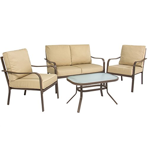 Best Choice Products 4-Piece Cushioned Metal Conversation Set w/ 2 Chairs and Glass Top Coffee Table, Beige