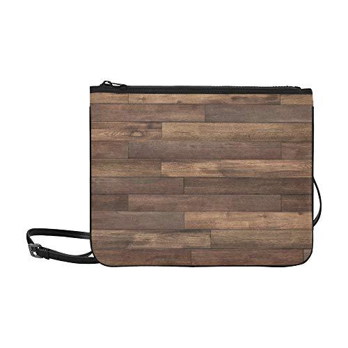 WYYWCY Old Grunge Dark Texturierte Holzmuster Benutzerdefinierte hochwertige Nylon Slim Clutch Cross Body Bag Schultertasche