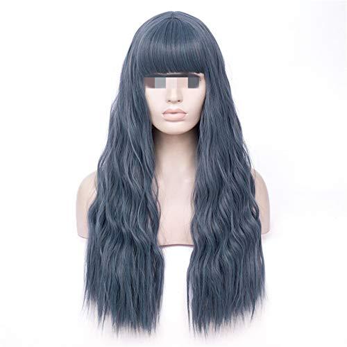 QINGRUI Beaux Accessoires Perruque synthétique Blonde Blonde Longue ondulée avec Franges Gris Rose Cheveux Girl wig résistant à la Chaleur Pratique (Color : Light Blue, Size : 26inches)