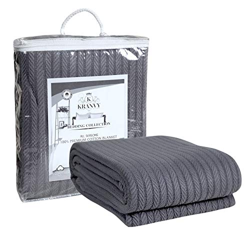 Kranvy Home 100% Soft Premium Cotton Thermal Blanket/Throw Lightweight and Breathable Loom Weave  Perfect for Layering Any Bed for AllSeason  Steel Gray  King Size 108 X 90 Inch