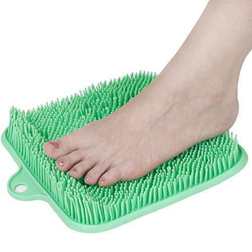 Fußbürste Duschfußreiniger Scrubber Massagegerät, fußschmerzmüde Füße Entspannende Akupressurmatte für den Duschboden mit rutschfesten Saugnäpfen, Erhöhung der Durchblutung, Peeling (24 x 24 cm)