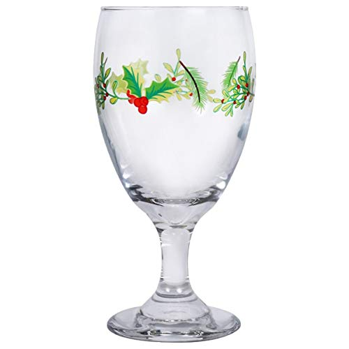 Water Goblets Set of 6-16.25 oz. USA MADE! Impressive, Durable, Multi Purpose Glasses: Ice Tea, Beer, Sangria, Cocktails Great for Christmas & Daily Use. Adorned with Holly Leaves & Berries((6)