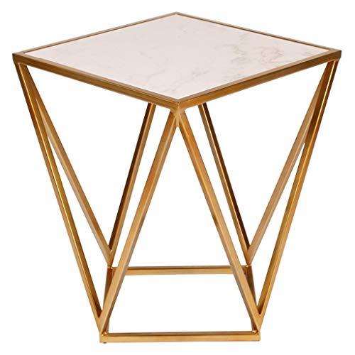 Woonkamer salontafel, marmer ijzeren vierkante tafel, metalen industriële stijl bijzettafel, geschikt voor woonkamer sofa bijzettafel balkon salontafel slaapkamer nachtkastje telefoontafel