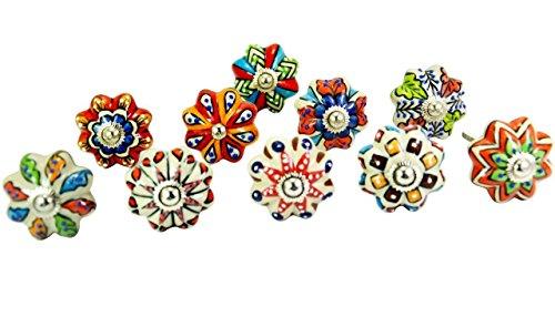 Ajuny - Pomelli e tiranti in ceramica per cassettiera, armadietti da cucina, bagno, in colori misti, 10 pezzi