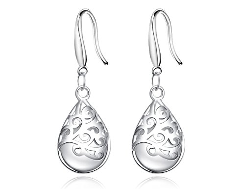 KEETEEN'Wishing Tree'925 Sterling Silver Teardrop Filigree Dangle Earrings for Women (vogue hook)