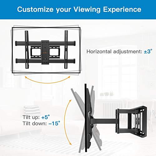 Support Mural TV Perlegear pour écrans 37-75 Pouces LED LCD Plasma et courbé Support TV Inclinable et orientable avec câble HDMI 1.8m