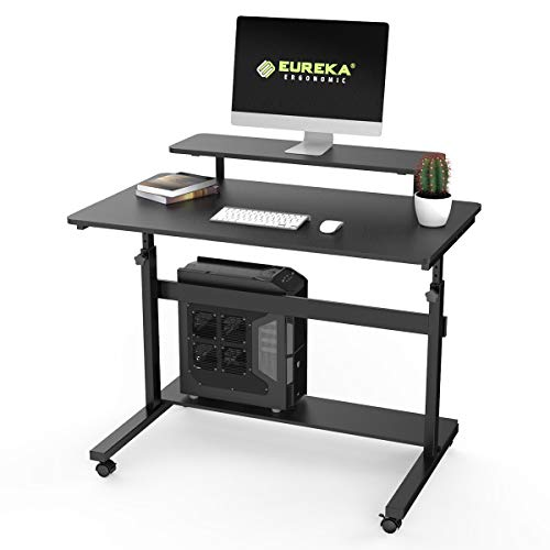 Eureka Ergonomic Height Adjustable Computer Desk, Rolling Sit Stand Desk for Home Office with Hutch, CPU Stand & Lockable Wheels, 41 inch-Black