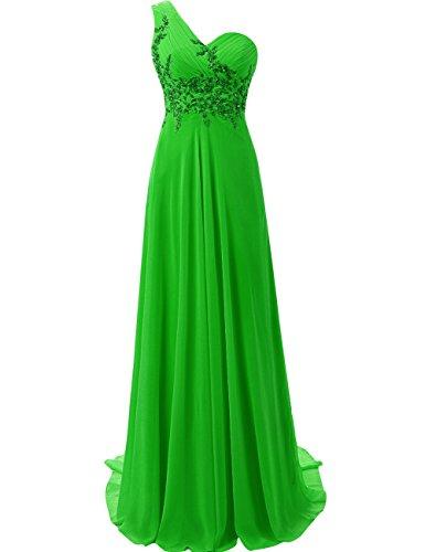 JAEDEN Abendkleider Ballkleider Lang Brautjungfernkleid Festkleider Damen EIN Schulter Smaragdgrün EUR38