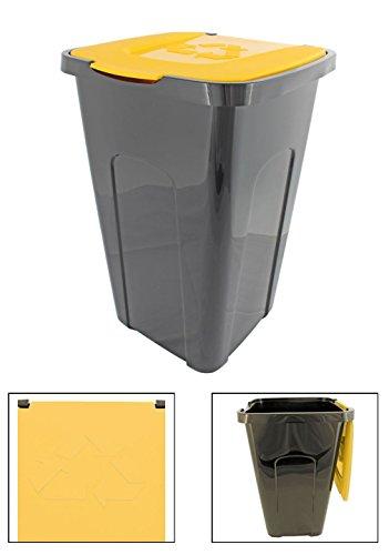 Abfalleimer Mülleimer Recyclingtonne XL schwarz mit farbigem Deckel 50 Liter 1 Stück, Farbe:Gelb
