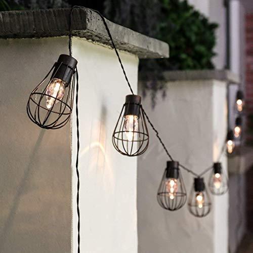 Kücheks Solar Caged String Lights, Waterproof Hanging 10LED Metal Solar Bulb Lanterns Cage LED Copper Fairy String Lights for Outdoor Garden Cafe Porch Decor(Warm White)