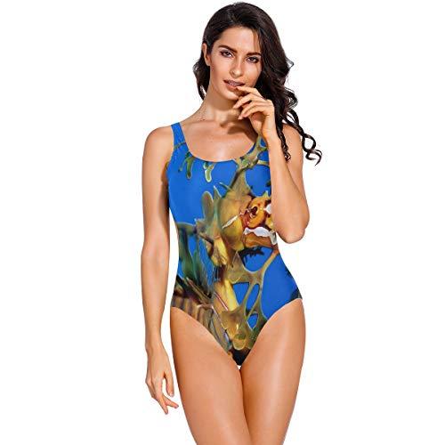 Cocoa trade Plus Size Swimwear,Amazing Seahorse Sexy One Piece Monokini Backless Bikini Swimsuit for Womens XXL