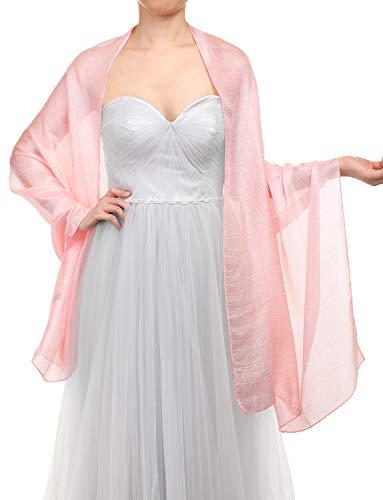 Gardenwed Damen Glitzerschal Scarves Stola 70 * 180CM Sommer Tuch Stolen für Kleider in 22 Farben Light Pink