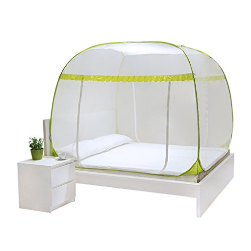 Bai lei jia ju shop Pop-Up-Zelt-faltende freie Installation Moskitonetz mit DREI Öffnungen Bett-Überdachung für Camping-Bettwäsche im Freien (Farbe : Gelb, größe : 1.5 * 1.95 * 1.6m)