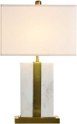 素赟灯具 アメリカンモダンホワイトスクエア大理石のベッドサイドランプ 生地ランプシェード、リビングルームの研究家の装飾クラブのためのクリエイティブメタルベースの寝室のテーブルランプ、E27、押しボタンスイッチ、225V