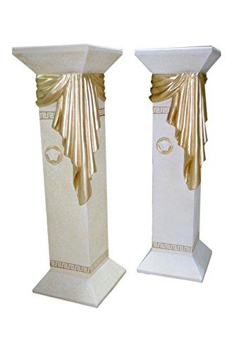 AWD Blumensäule Deko Stand Schleier Säule Steinmöbel Griechische Versa Serie AntikeAWD-BS-006 (Weiß-Matt-Antikfinish-Gold)