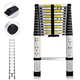DIY 12.5ft (3.8m) Telescoping Ladder Climb Home Builders Attic Loft Work Place Extendable