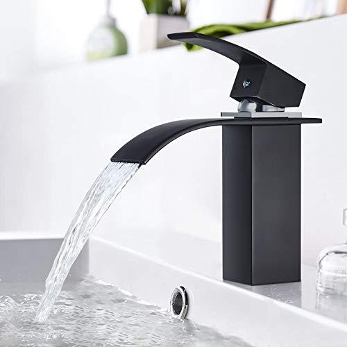 BONADE Wasserfall Wasserhahn Bad Einhandmischer Waschtischarmatur für Bad Badarmatur Einhebel Mischbatterie Einhebelmischer Waschbecken Waschtisch (Schwarz)