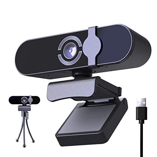 JOYSKY 1080p Full HD Webcam mit Mikrofon/Abdeckung und Stativ/USB-C Plug und Play Webkamera kompatibel mit Laptop PC für Live-Streaming/Videoanruf/Konferenz/Online-Unterricht/Spiel (Schwarz)