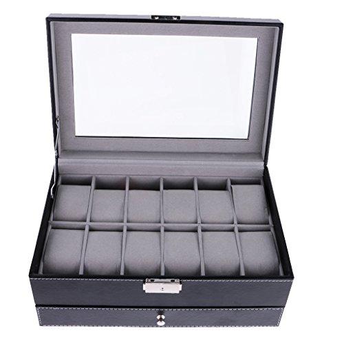 Harilla Caja de Reloj de 12 Ranuras, Grande para Hombre, Color Negro, con Pantalla de Cuero, Joyería con Tapa de Cristal - Negro, Individual