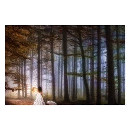 Puzzle mit einem Wolf durch einen magischen Wald, für Erwachsene, 500 Teile, Kinder-Puzzle, Spielzeug, Geschenk für Kinder, Jungen und Mädchen, 38,1 x 50,8 cm