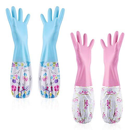 NATUCE 2 Pares Guantes de Hogar, lavandería lavar platos de caucho guantes de limpieza Para el uso de jardinería de limpieza de la cocina en el hogar-rosado + Azul,Talla L