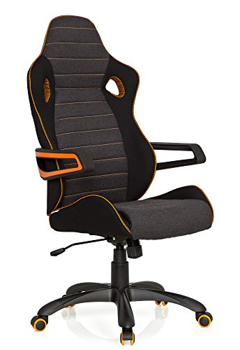 hjh OFFICE 621850 Gaming Chefsessel GAME PRO IV Stoff Schwarz/Grau/Orange Bürosessel, Sportsitz, hohe Rückenlehne