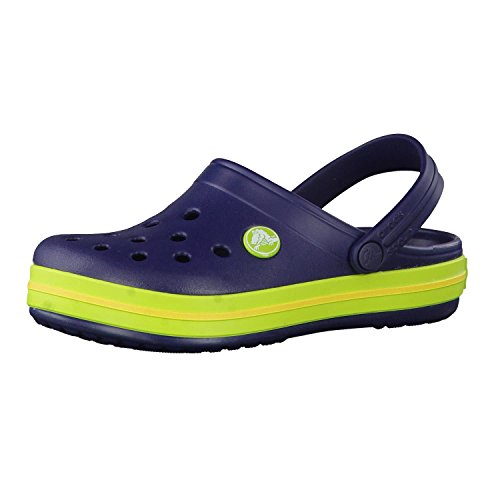 crocs Unisex-Kinder Crocband K Clogs, Navy/Volt Green, 34/35 EU