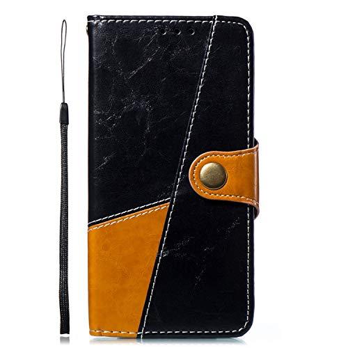 Kompatibel mit Handyhülle Galaxy Note 8 Ledertasche Handytasche Leder Handyhülle Vintage Flipcase Book Lederhülle Wallet Brieftasche Klapphülle Schale Ständer Tasche,Braun Schwarz