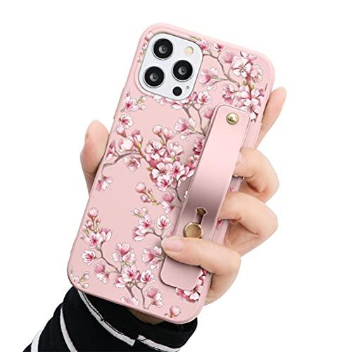 Eouine - Capa de pulso para Samsung Galaxy A7 2018, 6 polegadas, capa de telefone de silicone rosa macio com padrão e pulseira de pulso, capa de apoio fina à prova de choque antiarranhões para Samsung A7 2018