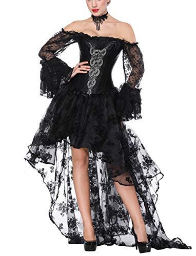 FeelinGirl Damen Korsagekleid Steampunk Gothic Kostüm Magic Mistress Hexenkostüm Teufelchen Halloween Cosplay Priatbraut