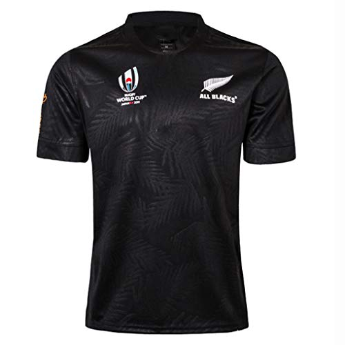 GLYFZ Rugby Jersey 2019 Nuova Zelanda Sport Maglia T-Shirt Coppa Mondo World Cup Anti-collisione Vestito Anti Collision T-Shirt della Maglia da Basket Rugby Collisione Attrezzature,Black,S170-175CM