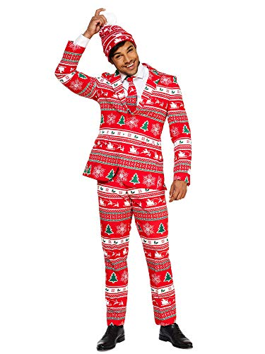 Opposuits Christmas Suits for Men in Different Prints – Winter Wonderland– Ugly Xmas Sweater Costumes Include Jacket Pants & Tie + Free Beanie – US 50