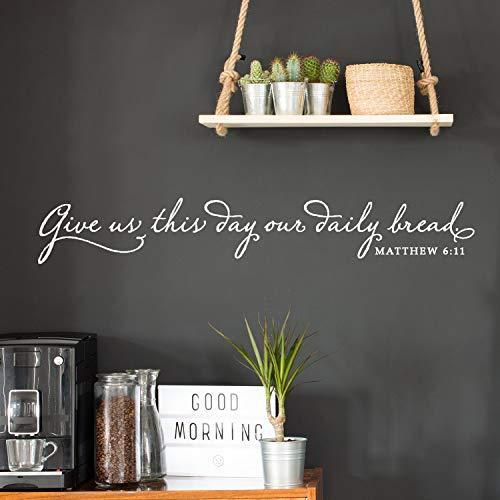 Geef ons vandaag onze dagelijkse Brood Vinyl Wall Decal Christian Wall Decor keuken muursticker lettertype The Lords Prayer