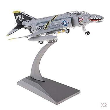 Bonarty 2Pcs F-4c Diecast 1:100 Model Military Aircraft Plane Airplane Models Toy – Air Defense Interceptor Fighter…