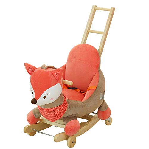 Kibten Baby Rocking Horse Dual-use Mamas Papas Rocking Horse for Girls Boy Kids, Wooden Plush Stuffed Animal Rocker Fire Fox Infant Ride Toy with Music for Nursery & Playroom