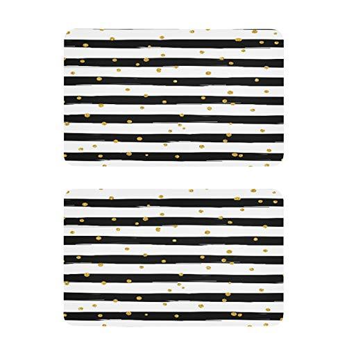 QMIN - Imanes para nevera (2 unidades), diseño de rayas, color dorado