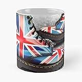 92Novafashion Martens Painted Boots Dr Jack United Kingdom Union Custom La Mejor Taza de café de cerámica de mármol Blanco de 11 oz