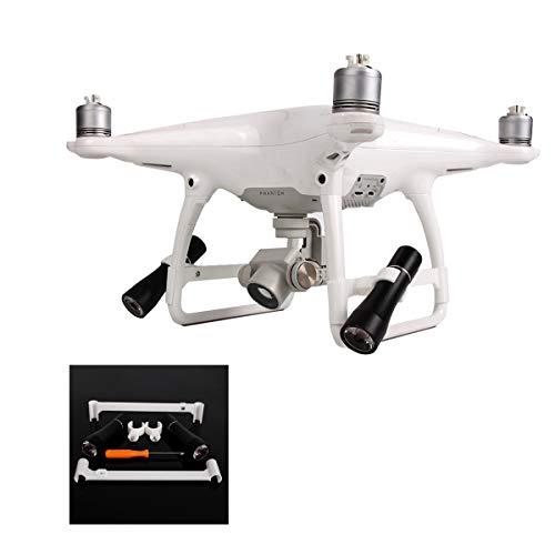 Flycoo - Lampada a 2 LED + supporto per DJI Phantom 3 4 vol di notte Flash luce luce notturna luce luce notturna portata girevole lampada tascabile kit (per Phamtom 4 Gamme)