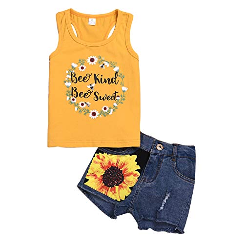 2Pcs/Set Toddler Kids Baby Girl Sleeveless T-Shirt Top+Sunflower Denim Jeans Shorts Outfits (Yellow, 6-7 Years Old)
