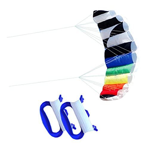 Großer Regenbogen Drachen Dual Line Stunt Kite Kinder Erwachsene im Freien Surfen Spielzeug mit 30m Rolle