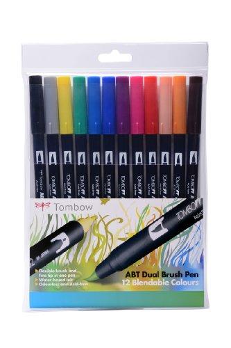 Tombow - Rotuladores (12 unidades, punta de pincel doble, colores primarios)