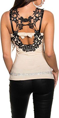 Koucla extravagantes Damen Top mit Strass und Spitzenverziehrung, Farbe:Beige, Größe:S