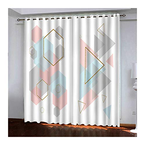 KnSam 2 cortinas de poliéster 98% bloquean la luz, triángulo de poligonal con ojales, 214 x 183 cm, multicolor